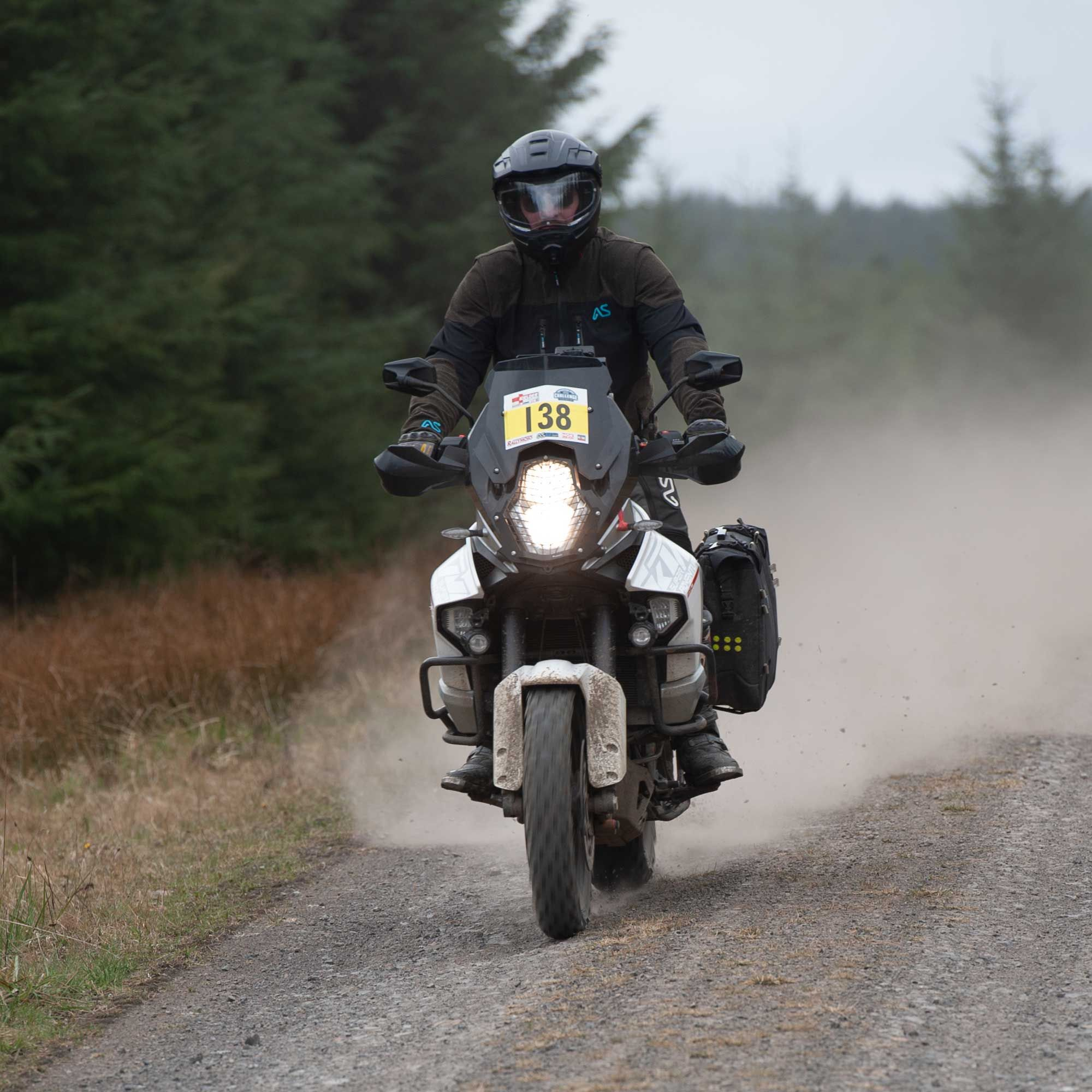 BMW GS riding gravel road